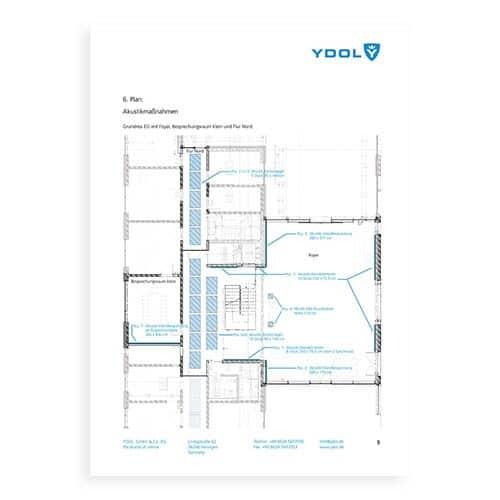 Architekten-Skizze einer Akustikplanung mit Design-Schallabsorbern.