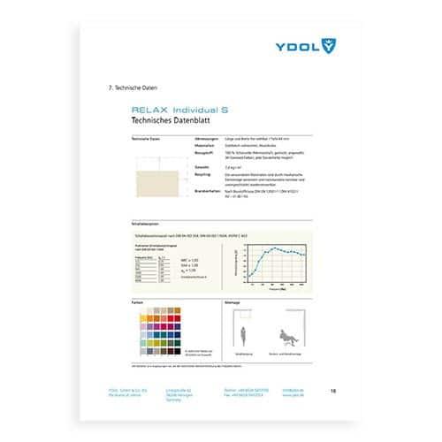Technisches Datenblatt einer Akustikplanung für Design-Schallabsorber von YDOL.