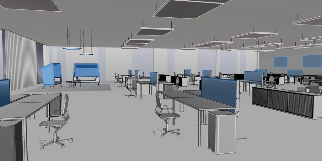 Visualisierung einer YDOL-Planung mit Design-Schallabsorbern für ein Großraumbüro.