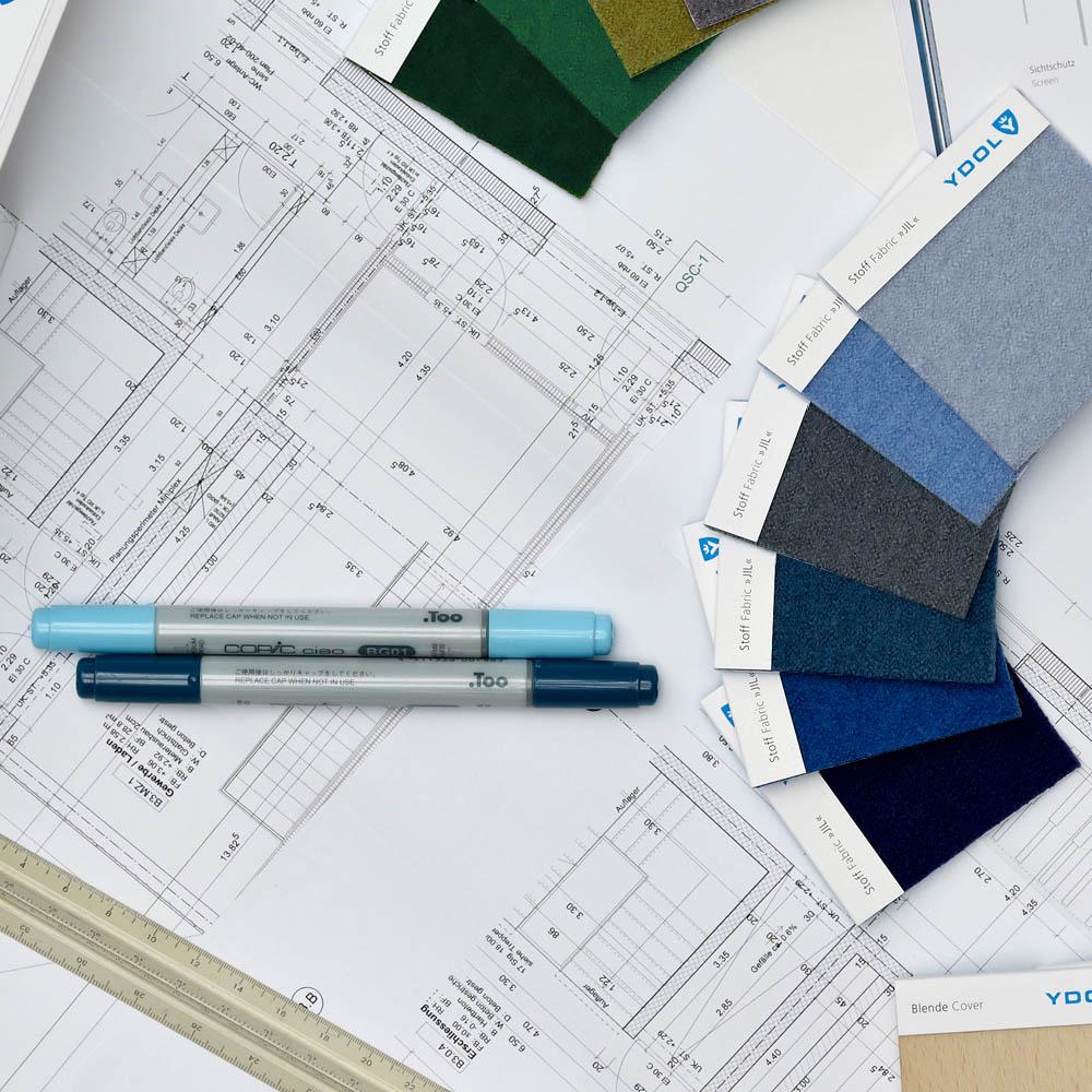Stoffmuster für Design-Schallabsorber und weiteres Material einer Architektenplanung fpr Design-Schallabsorber.