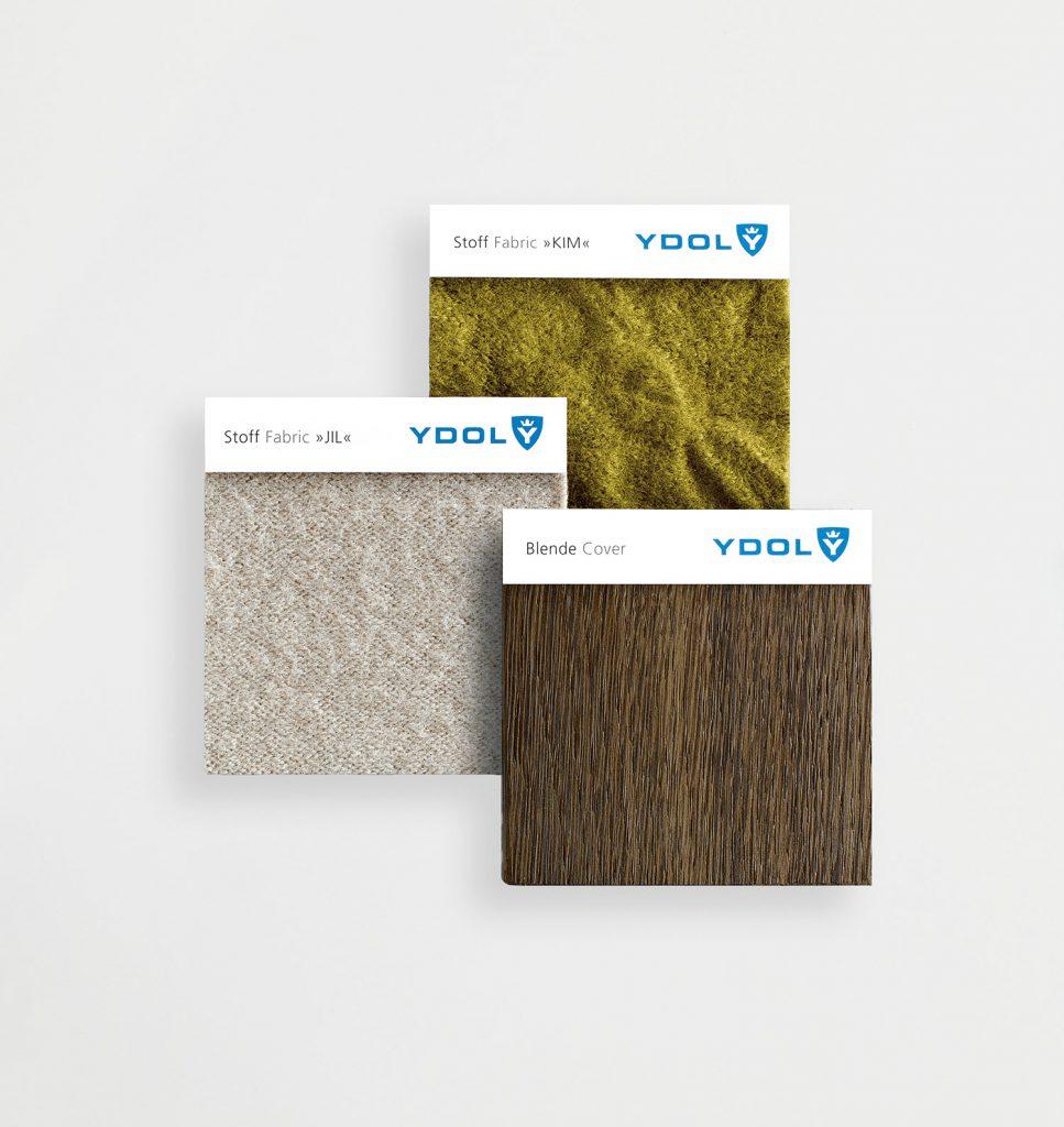 Drei Stoffmuser von YDOL für Design-Schallabsorber in naturtönen.